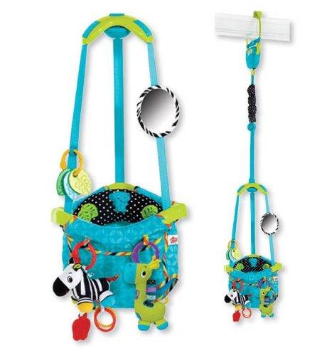 Bright Starts 6933 Bouncin Around deurhopper patroon met twee speelgoed, onbreekbare spiegel, bijtring en kussen, turquoise en groen