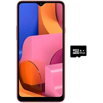 "Samsung Galaxy A20S w/Triple Cameras (32GB, 3GB RAM) 6.5"" Display, Snapdragon 450, 4000mAh Battery, US & Global 4G LTE GSM Unlocked A207M/DS - International Model (Red, 32GB + 64GB SD Bundle)"