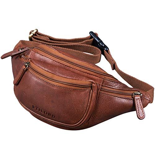 STILORD 'Eliah' Riñonera o Bolsa de Cuero Vintage Bolso de Cintura Cadera o...