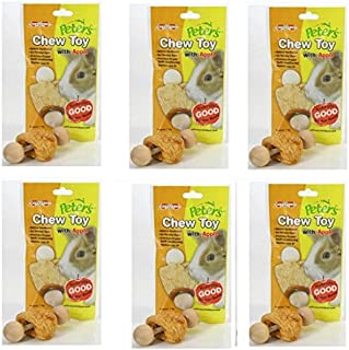 (6 Pack) Marshall Pet Products Peter's Chew Toy for Rabbits and Small Animals, Apple