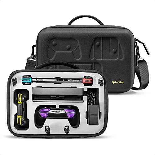 tomtoc Maletín para Nintendo Switch y Accesorios, Funda de Viaje para Consola, Base, Mando Pro Controller y 36 Tarjetas de Juegos, Estuche de Almacenamiento para Accesorios de Nintendo Switch