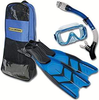 U.S. Divers Cortez LX Mask, Total Dry Snorkel, Hydrosplit Fin, and Travelite Bag Snorkeling Set