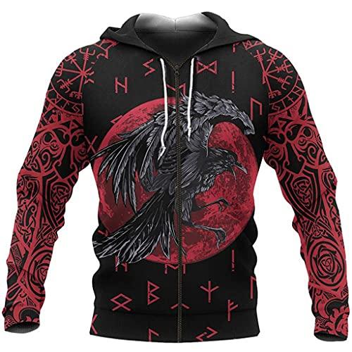 Feinny Hombres Viking Odin Crow Fall Hoodies, 3D Runes Tattoo Print Chaqueta de Manga Larga Sudaderas con Capucha, Jersey de Desgaste éTnico Nórdico con Bolsillo,Rojo,L
