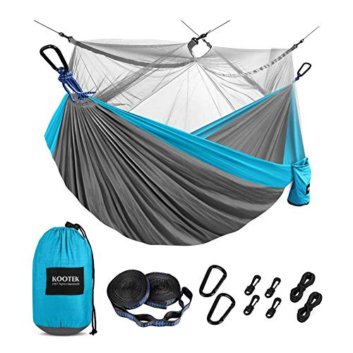 Kootek Camping Hammock with Mosquito Net Double & Single Portable Hammocks Parachute Lightweight Nylon with Tree Straps for Outdoor Adventures Backpacking Trips ( Grey & Sky Blue, Large)
