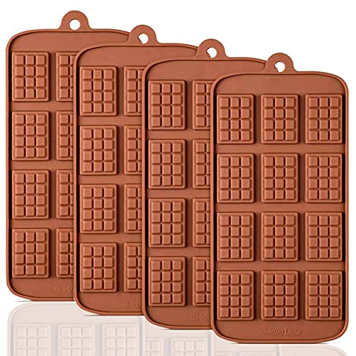 HautHome 4pcs moldes de silicona para chocolate,Moldes de Bombones de Silicona, antiadherentes, antiroturas, proteínas y barra de energía, bandeja para cubitos de hielo, molde para dulces