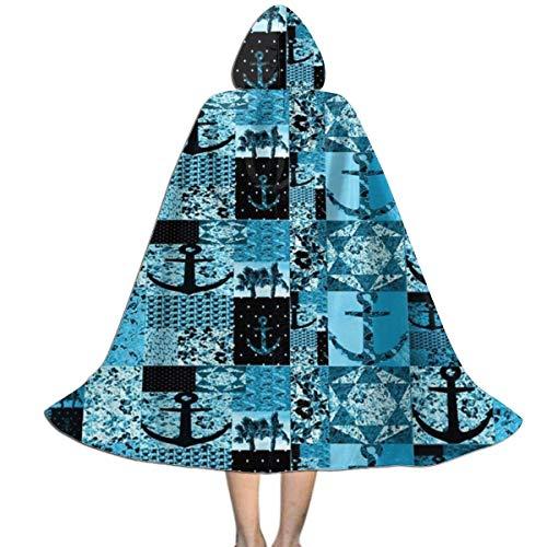 con Capucha Ancla De Barco Nutico Botnico Azul Navidad Fiesta Disfraces Talla Unica Capa De Vampiro Personalizable Disfraz De Halloween para Nios Mujer 150X40Cm