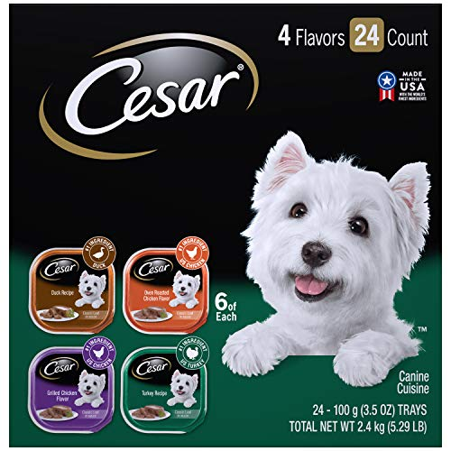 Cesar Soft Wet Dog Food Classic Loaf in Sauce Poultry Variety Pack, (24) 3.5 Oz. Easy Peel Trays With Real Chicken, Turkey or Duck