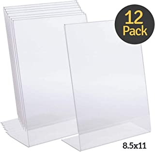"1InTheOffice Acrylic Slanted Sign Holder 8.5 x 11""12 Pack"""