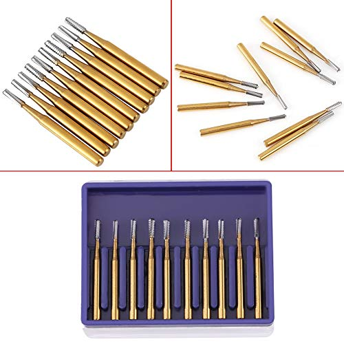10 Pcs FG - 1957 Tungsten Steel Burs Carbide High-Speed Cutting Carbide Drill Crown Length 19 mm / 0.75inch External Diameter 1.0 mm / 0.04inch Shank Diameter 1.6 mm / 0.063inch