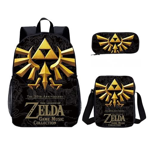 Legend of Zelda - Juego de 3 mochilas escolares, mochilas deportivas y de ocio para niños, adecuadas para la escuela primaria, guardería, Zelda5., 16', Mochila infantil