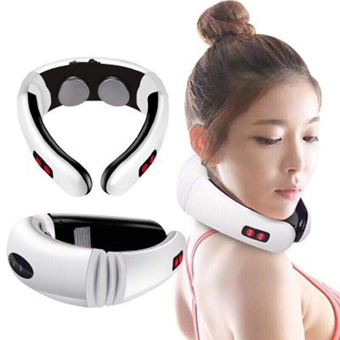 通信網安いです親ポータブル電子ネックマッサージ装置 - 首の痛み、肩の痛み、頸部頭痛の治療用 - 車のホームオフィス用