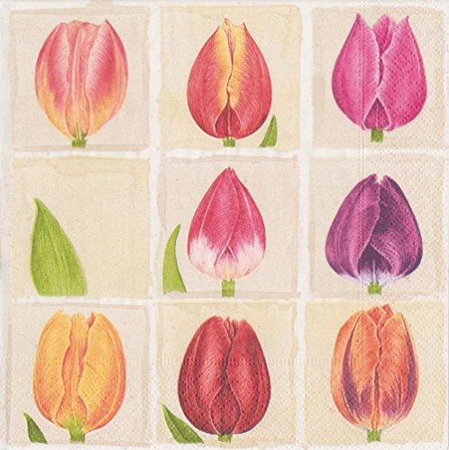 Caspari Tulpen Cocktail-Servietten, aus Papier, 20Stück, violett