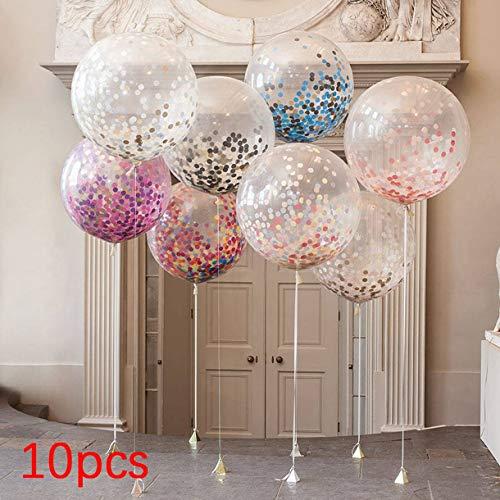 Mazurr 10pcs Mehrfarben Konfetti Luftballon Papierlaterne Laternen wünscht für Geburtstagsfeier Hochzeitsdeko transparenter freier Ballon (Farbe: transparent)