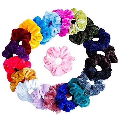 TRIXES 20 Bunte Scrunchies für Mädchen - Samt Haargummies Haarbänder - Haarschmuck
