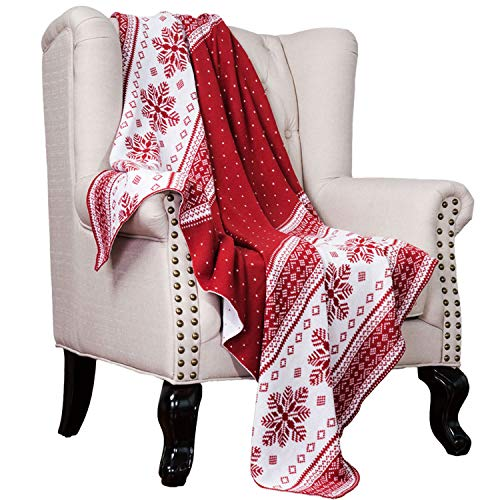 Bedsure Red and White Snow Flake Decorative Christmas Throw Blanket