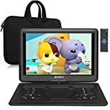 PUMPKIN 16' Portable DVD Player with HDMI Input, Carry Bag, 6 Hours Rechargeable Battery, Support Sync Phone/TV, 1080P MP4 Video, USB TF Card, High Volume Speakers