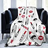 Flannel Fleece Funny Throw Blanket, Makeup Print Mascara Beauty Lipstick Eyelashes Girls Blankets for Winter Sofa, Air Conditioning Blanket and Large Anti-Static 50' x 40'