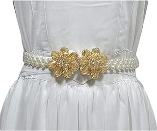 Ladies pearl elastic wide waist chain wild rhinestone inlay buckle belt (Color : A, Size : 60-80cm)