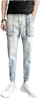 MogogN Men's Relaxed Pockets Middle Waist Washed Slim Fit Cotton Denim Pants