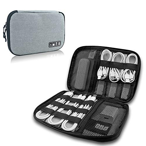 LaoJee Electronics Organizer Travel Cable Cord Bag Accessories Gadget Gear Storage Gray