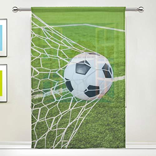 CPYang Vorhang mit Fußball-Motiv, aus Voile, für Wohnzimmer, Schlafzimmer, Tür, Küche, 139,7 x 198 cm, 1 Paneel, Textil, multi, 55 x 84 inch
