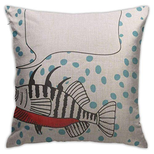 Yuanmeiju Throw Pillow Covers Throw Pillow Cases Fish Stickleback Speech Bubble On Dotty Arthouse Mock Up Greeting