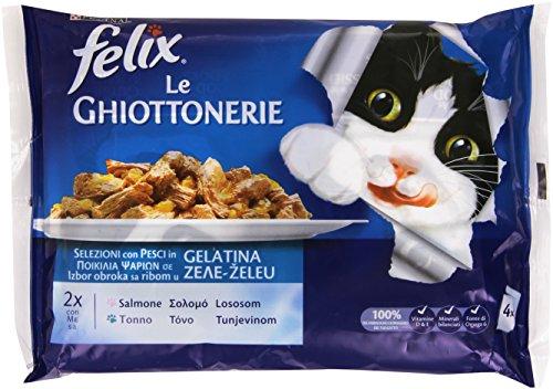 Felix Le Ghiottonerie, Cibo per Gatti, Selezioni con Pesci in Gelatina, con Salmone e con Tonno - 4 buste da 100 g [400 g]