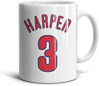 RSEWAW Ceramic Red-Phillies-Bryce-Harper- Mug Funny Coffee Cup Tea Gift Porcelain Mugs White