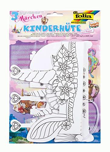 folia 23307 - Kinderhüte Märchen, aus Pappe, 3 Stück in verschiedenen Formen, weiß, zum selbst Bemalen und Gestalten, für Kinder, Jungen und Mädchen, ideal für Kindergeburtstage und Partys