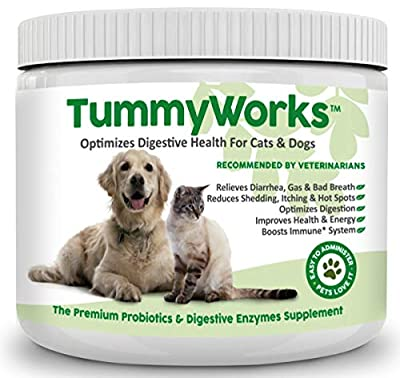 TummyWorks Probiotic for Dogs & Cats. Best Powder To Relieve Diarrhea, Yeast Infections, Itching, Skin Allergies & Bad Breath. Boosts Immunity. Digestive Enzymes For Improved Digestion. Made in USA