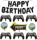 Palloncini per Videogiochi, 1 set Palloncini HAPPY BIRTHDAY, 6 Palloncini controller, 2 Palloncini a tema di gioco, 1 Palloncini a Freccia per Bambini, Ragazzi, Decorazioni per Feste di Compleanno