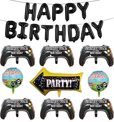 22 Stück Videospiel Party Ballons, 1 Set HAPPY BIRTHDAY Ballons, 6 Stück Controller Ballons, 2 Stück Gaming Theme Ballons, 1 Stück Pfeil Ballons für Kinder, Jungen, Gamer Birthday Party Dekoration