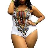 Meyerlbama Womens Bikini, Curve Appeal Dashiki African Tankini Printing Push-Up Jumpsuit (XL, White)