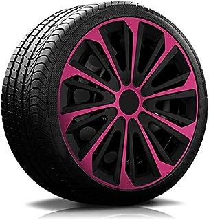 14 Zoll RKK06 Multi Color Line (Schwarz Pink) Radkappen/Radzierblenden 4 Stück