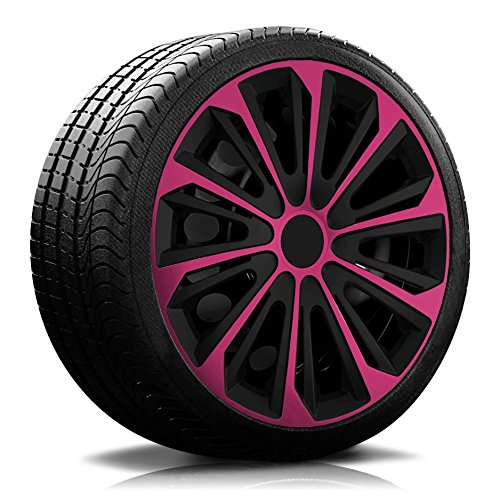 14 Zoll RKK06 Multi-Color Line (Schwarz-Pink) Radkappen/Radzierblenden 4 Stück