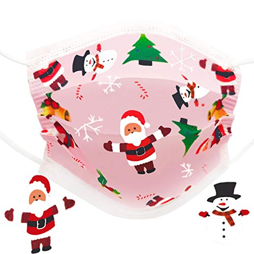 Kids Disposable Face Mask, Pink Christmas Face Masks For Children, 30 Pcs Santa Snowman Toddler, Youth Mask,3 Ply Design Girls Masks, Kawaii Cute Unisex Mascarillas Para Niños For Christmas holiday