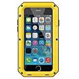 iPhone SE 2020 Case,Gorilla Glass Luxury Aluminum Alloy Protective Metal Extreme Shockproof Military Bumper Heavy Duty Cover Shell Case Skin Protector for Apple iPhone SE 2020/8/7 4.7inch (Yellow)