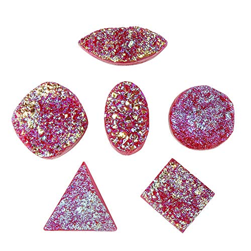GEMHUB Rainbow Multi Color Druzy Stone 120 Carat Lot of 6 Pcs Mix Shape Loose Gemstone for Jewelry Making ASP-036
