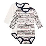 Sanetta Baby-Jungen Langarmbody Doppelpack Broken White Kleinkind Unterwäsche-Satz, beige, 098