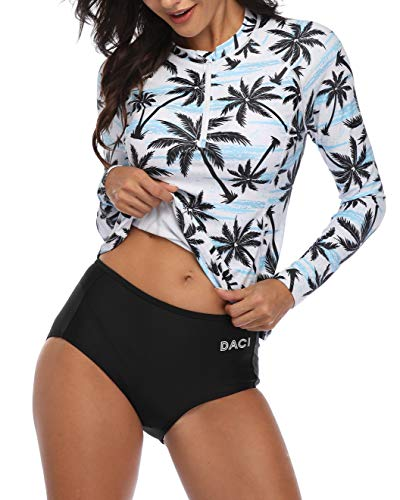 Daci Women Coconut Rash Guard Long Sleeve Zipper Bathing Suit with Built in Bra Swimsuit UPF 50 L