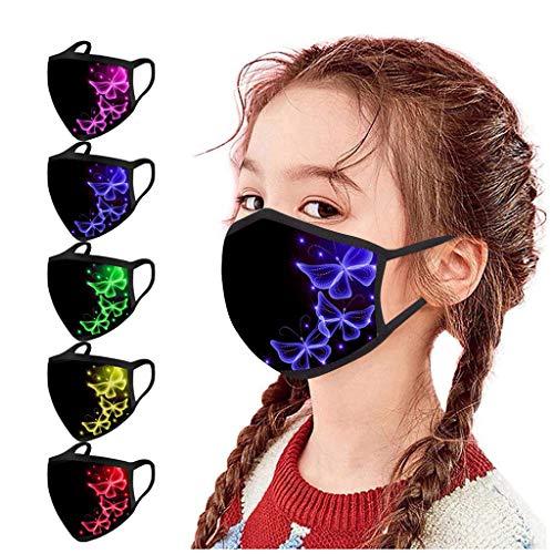 lHAZA 5 Stück Kinder Schmetterling Muster Gedruckt Gesichtsschutz Mundschutz Staubschutz Waschbar Wiederverwendbar Atmungsaktiv für Outdoor