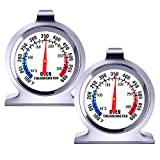2 Pack Oven Thermometer - 100-600°F Instant Read Stainless Steel Oven Thermometer for Electric Oven Thermometer for Gas Oven Large Dial Grill Fry Chef Smoker Monitoring Kitchen Cooking Thermometer