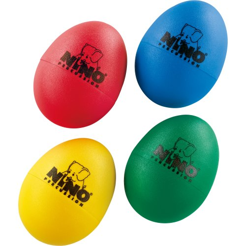 Nino Percussion Plastic Egg Shaker Set, 4 Pieces - For Classroom Music or Playing at Home, 2-YEAR WARRANTY (NINOSET540),Red, Blue, Green, Yellow
