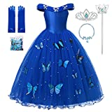 MUABABY Girls Cinderella Princess Pageant Ball Gowns Kids Tulle Flower Girls Dresses (2-3 Years, Blue)
