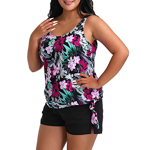 Womens Plus Size Tankini Swimsuits Two Piece Bathing Suits for Women Tummy Control Swimwear Top with Boyshorts