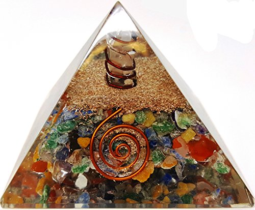 Sharvgun 7 Chakra Crystal Tree of Life Orgone Pyramid Kit//Includes 4 Crystal Quartz Energy Points//EMF Protection Meditation Yoga Energy Generator