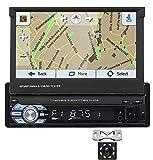 Radio de Coche Bluetooth, Hodozzy Single DIN Car Stereo Navegación GPS Pantalla Táctil de 7'Soporte de Autoradio MP5 Bluetooth Aux USB SD FM Mirror Link Cámara de Visión Trasera