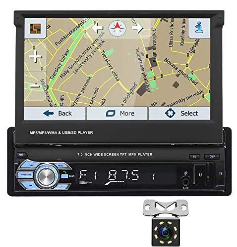 """1Din Autoradio GPS Stereo Navigationssystem, GPS Bluetooth Autoradio 7"""" HD Touchscreen MP5-Haupteinheit, Single Din Autoradio mit Rückfahrkamera, Aux USB SD FM Radio Media Player"""