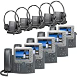 Plantronics -Over-The-Head monaural Wireless Headset System CS510 Cisco Unified IP Phone 7975G (5 Pack) Combo