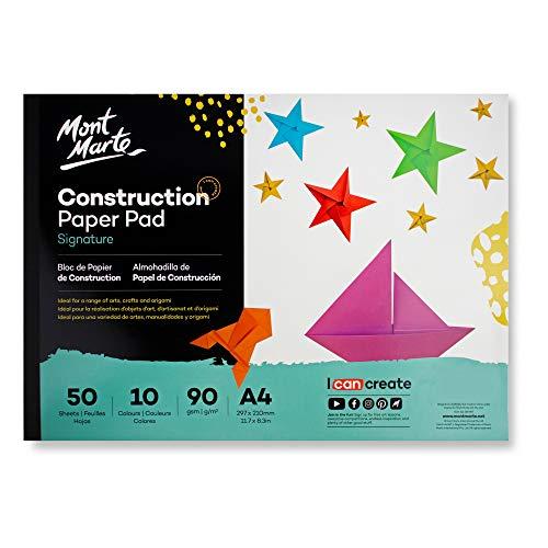 Mont Marte Bastelpapier A4 – 50 Blätter, 90g/m² – Buntes Papier mit 10 Ideal zum Basteln und für Origami
